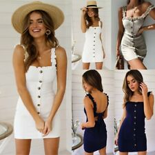 Summer Women Sleeveless Sling Dress Ladies Button Straight Off Neck Sundress