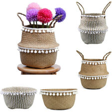 Seagrass Woven Tassel Flower Belly Basket Garden Plant Holder Home Organizer HOT