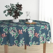 Round Tablecloth Green Blue Coral Map Sea Serpent Holli Zollinger Cotton Sateen