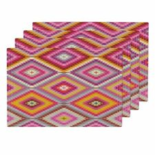Cloth Placemats Kilim Multicolor Pink Orange Yellow Holli Zollinger Set of 4