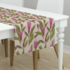 Table Runner Ginger Floral Flower Tropical Pink Holli Zollinger Cotton Sateen