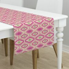 Table Runner Talulah Ikat Bright Holli Zollinger Pink Cotton Sateen