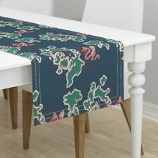 Table Runner Green Blue Coral Map Sea Serpent Holli Zollinger Cotton Sateen
