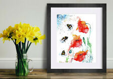 Poppies and Bees. Watercolour Painting,Original Art, Prints, Art Card
