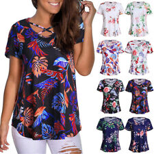 Womens Summer Tunic Tops Short Sleeve Floral Blouse Casual Plus Size T Shirt