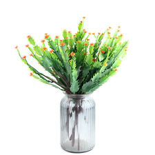 Artificial Plants Fake Shrubs Plastic Bushes Faux Greenery Cactus with Flower