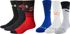 NWT Under Armour Boys Youth Phenom S. Curry Cushion Crew Socks 3 Pack Basketball