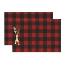 Cloth Placemats Woodsman Plaid Buffalo Red Checkered Boxes Shapes Black Set of 2