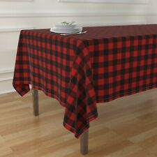 Tablecloth Woodsman Plaid Checkered Buffalo Red Boxes Shapes Cotton Sateen