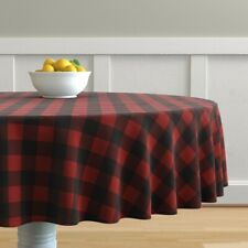 Round Tablecloth Woodsman Plaid Checkered Buffalo Red Boxes Shapes Cotton Sateen