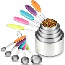 Measuring Cups and Spoons 10pcs Set Stainless Steel or Baking Tea Coffee Kitchen