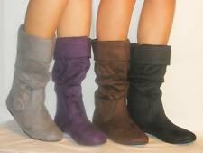 CUTE!Comfy Suede Fold Over Boots Rubber Grip