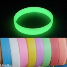 Glow in the dark silicone wrist band bracelet -9 colour