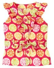 GYMBOREE CITRUS COOLER PINK SLICE BELTED WOVEN TOP 4 7 10 12 NWT