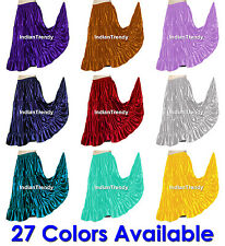 27 Color Satin 4 Tier Gypsy Skirt Belly Dance Costume Club Tiered Flamenco Gonna