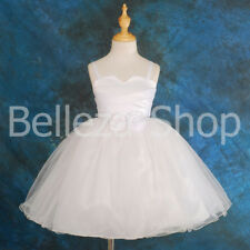 Satin Tulle Dress Wedding Flower Girl Pageant Christening Infant Size 6m-8 FG012