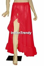 Red Ruffle Slit Skirt Belly Dance Costume Boho Gypsy
