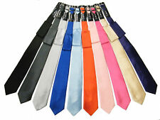 NEW Mens Solid Satin Neck Tie with Hanky, 20Colors