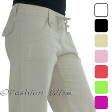 Ladies Linen Trousers Size 8 10 12 14 Wide Leg Summer Casual Essential