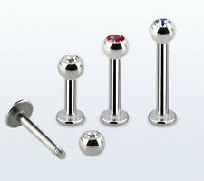 """1PC. 16G~1/4"""" to 1/2"""" Steel Labret Monroe Ears Helix Cartilage Tragus piercing"""