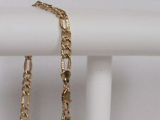 18k Gold ep Pave Figaro Chain 6 mm Lifetime guarantee