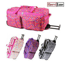 """30"""" Womens Girls Hearts Wheeled Travel Holdall Flight Cabin Bag Suitcase New"""