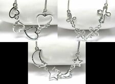 NEW CRYSTAL MULTI CROSS HEART MOON STAR LINK NECKLACE