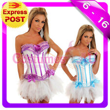 Ladies Busiter Boned Lace up corset skirt S M L XL 2XL Costume Fancy Dress