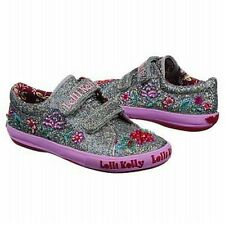 Lelli Kelly Glitter Beaded 9531 Pretty Pewter velcro Hand Beaded Tennis Flower