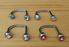 1pc 14G Double C.Z. Gem Lip Loop Labrets Chin Monroe Barbell (Chose in 4 Colors)
