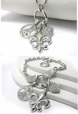 NEW CRYSTAL PEACE HEART FLEUR DE LIS PENDANT NECKLACE OR BRACELET WHITE GOLD