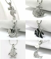 NEW CRYSTAL SEA LIFE PENGUIN SEAHORSE SEAL TROPICAL FISH WHALE PENDANT NECKLACE
