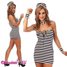 New Halloween Women Girls Jail Prisoner Fancy Dress Costume Full Outfit sz S-XL