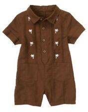 GYMBOREE LITTLE SURFER DUDE BROWN  PALM TREES COLLAR ONE PIECE 0 3 6 18 24 NWT
