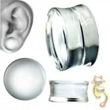 Clear Double Flare Plugs Solid Ear Gauge Body Jewelry Tunnel Earlets Earrings