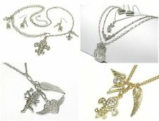 NEW FLEUR DE LIS ANGEL WINGS HEART LOCK & KEY NECKLACE EARRINGS