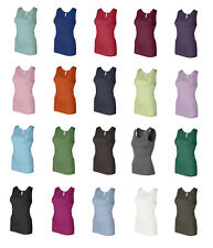 Bella Ladies 1×1 Rib Tank Top Shirt, 21 Color & 5 Sizes, S-2Xl,  Cotton (1080)