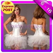 Ladies White Angel Heaven Fancy Dress Costume Corset Tutu Skirt
