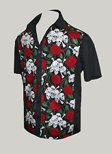 Mens black skull roses rockabilly 50s lounge diner shirt goth psychobilly retro
