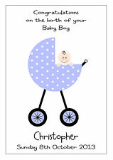 PERSONALISED NEW BABY BOY GIRL CARD CONGRATULATIONS PRAM GRANDSON GRANDDAUGHTER