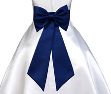 NAVY BLUE TIE BOW SASH FOR WEDDING FLOWER GIRL DRESS sz S M L 2 3 4 6 8 10 12 14