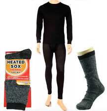 Mens THERMAL 2pc SET Waffle Knit Underwear Long John Top Bottom BLACK S~XL 2X 3X