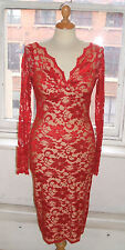 Baylis Knight NUDE RED French Lace Long Sleeve *Sexy* TWIST Wiggle Dress