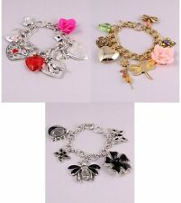 NEW BOUTIQUE FLOWER BIRDS BUTTERFLY DRAGONFLY LADYBUG HEART ROSE CHARM BRACELET