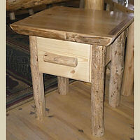 Log Nightstand / Endtable Single Drawer - Rustic Handcrafted with FREE SHIPPING