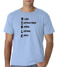 Mens Bible Acrostic Christian T-Shirt Tee Basic Instructions Before Leaving