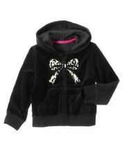 GYMBOREE LEOPARD CHIC BLACK LEOPARD BOW VELOUR HOODED JACKET 3 4 5 6 7 8 10 12