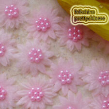Pink Organza Flower With Cluster Beads Sewing Scrapbooking Appliques JM7B