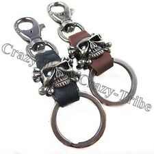 Men's Punk Heavy Duty Leather Belt Loop Skull Key ring chain k139 free ship