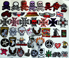 Iron On Woven Patches NEW Many Designs Skulls Cross Punk Rock Goth Biker skater